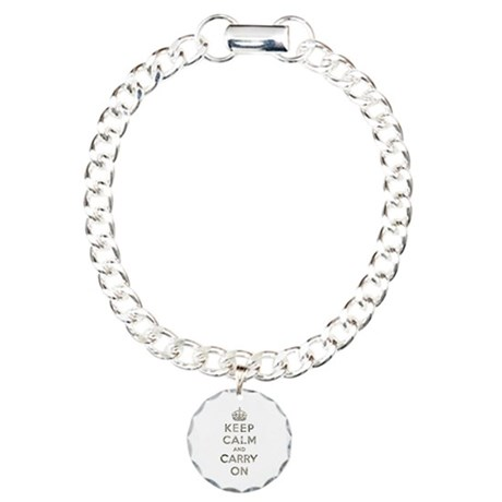 Vintage Keep Calm And Carry On Charm Bracelet, One