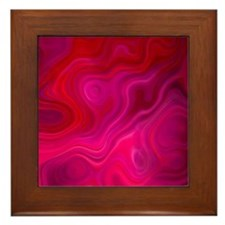 Brilliant Red Abstract Framed Tile