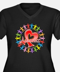AIDS Unite in Awareness Women's Plus Size V-Neck D