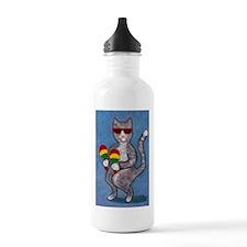 Dancing Cat with Maracas Water Bottle