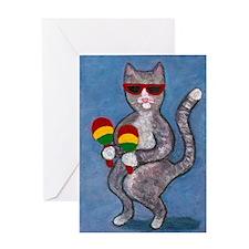 Dancing Cat with Maracas Greeting Card