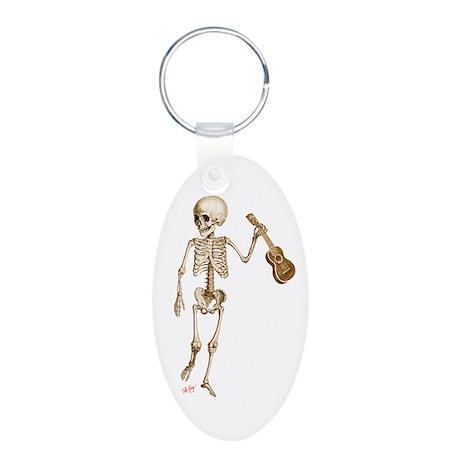 Ukulele Skeleton Aluminum Oval Keychain