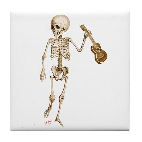 Ukulele Skeleton Tile Coaster