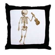 Ukulele Skeleton Throw Pillow