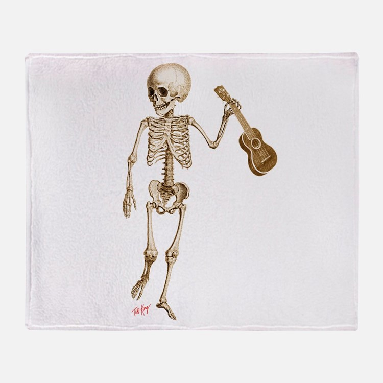 Ukulele Skeleton Throw Blanket