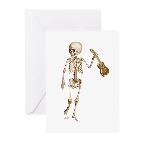 Ukulele Skeleton Greeting Cards (Pk of 10)