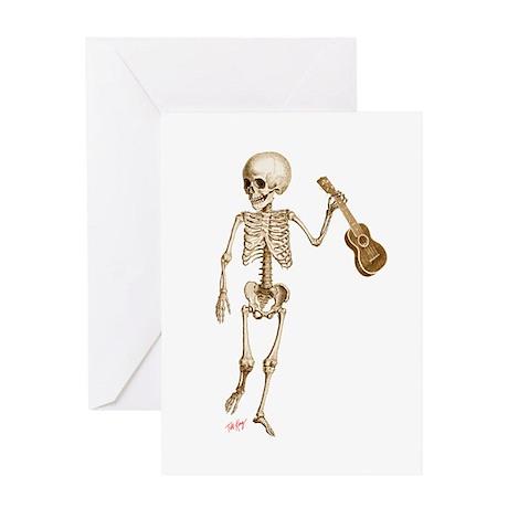 Ukulele Skeleton Greeting Card