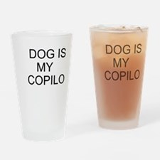 Cute Dog is my copilot Drinking Glass