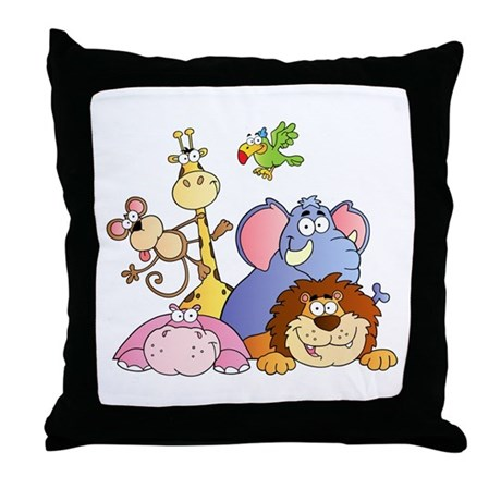 Jungle Animal Pillow : Jungle Animals Throw Pillow by bonfiredesigns