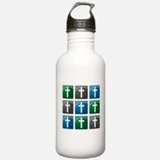 Colorful Christian Crosses Water Bottle