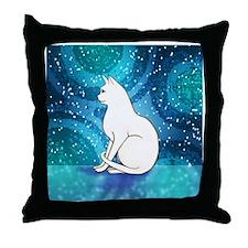 Prim White Kitty Cat Throw Pillow