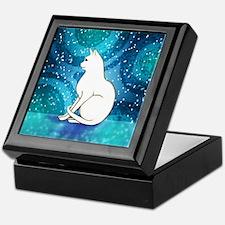 Prim White Kitty Cat Keepsake Box