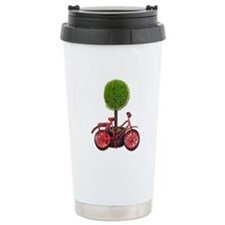 Bicycle Leaning on Potted Tre Travel Mug