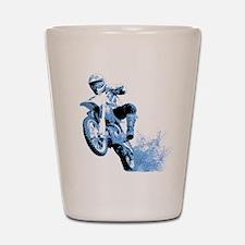Blue Dirtbike Wheeling in Mud Shot Glass