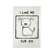 I Love My Fur Kid (b&w) Rectangle Magnet