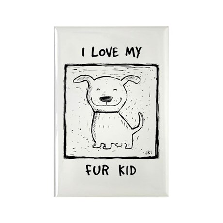 I Love My Fur Kid (b&w) Rectangle Magnet (10 pack)
