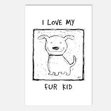 I Love My Fur Kid (b&w) Postcards (Package of 8)