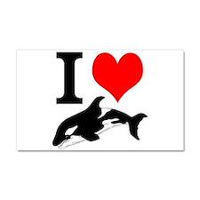 I Heart Whales Car Magnet 20 x 12