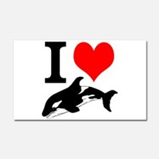 I Heart Whales Car Magnet 20 x 12