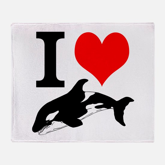 I Heart Whales Throw Blanket