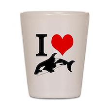 I Heart Whales Shot Glass