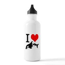 I Heart Whales Water Bottle
