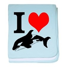 I Heart Whales baby blanket