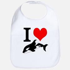 I Heart Whales Bib