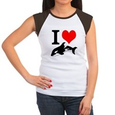 I Heart Whales Women's Cap Sleeve T-Shirt