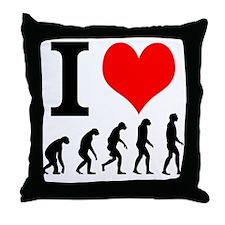 I Heart Evolution Throw Pillow
