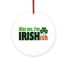 Kiss Me I'm Irishish Ornament (Round)