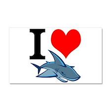 I Heart Sharks Car Magnet 20 x 12