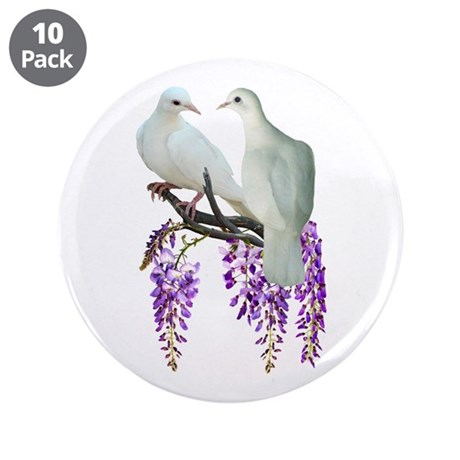 "Doves in Wisteria 3.5"" Button (10 pack)"