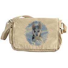 Kiya playing in the snow Messenger Bag