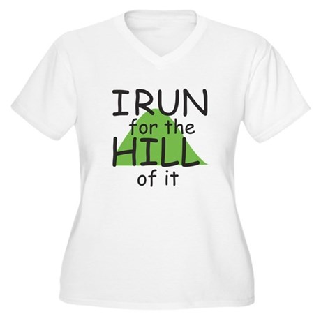 Funny Hill Running Women's Plus Size V-Neck T-Shir
