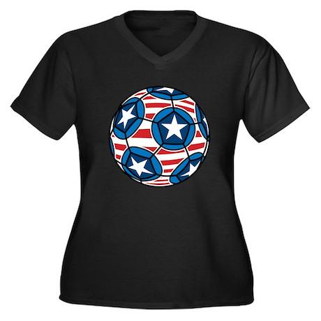 American Soccer Ball Women's Plus Size V-Neck Dark