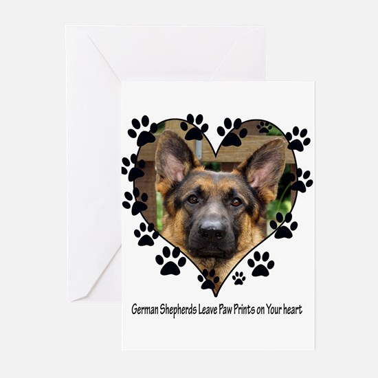 German Shepherds Leave Pawpri Greeting Cards (Pk o