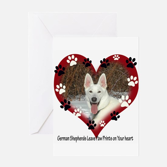 Paw Prints on My Heart, White Greeting Card