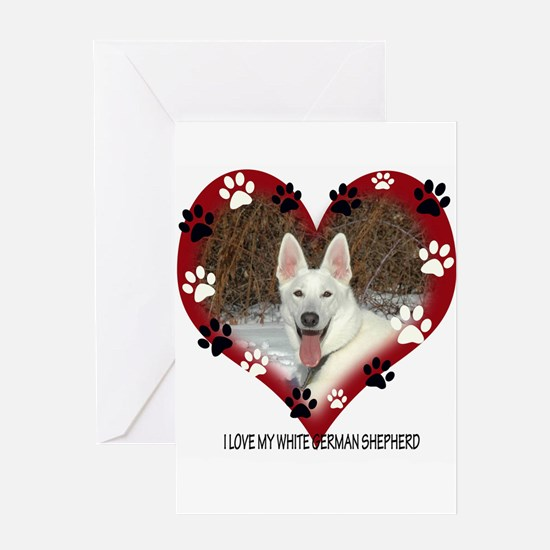 I Love my White German Shephe Greeting Card