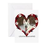 I Love my White German Shephe Greeting Cards (Pk o