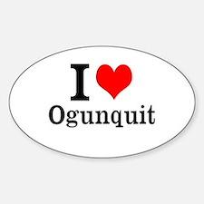 """I """"Heart"""" Ogunquit Sticker (Oval)"""