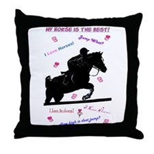 Hunter/Jumper Horse Doodle Throw Pillow