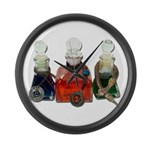 Colorful Potion Bottles with Large Wall Clock