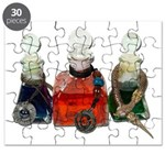 Colorful Potion Bottles with Puzzle