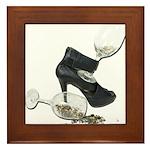 High Heel Wine Glass Stars Framed Tile