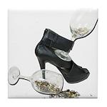 High Heel Wine Glass Stars Tile Coaster