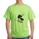 High Heel Wine Glass Stars Green T-Shirt