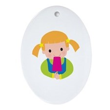 Little Girl Popsicle Ornament (Oval)