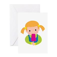 Little Girl Popsicle Greeting Card