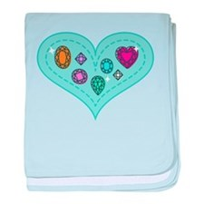 Beautiful Colorful Gems on Heart baby blanket
